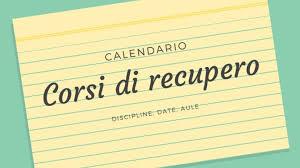 Calendario corsi di recupero