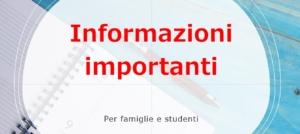 Informazioni importanti per famiglie e studenti
